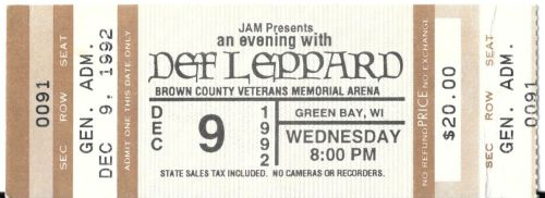 Ticket for Def Leppard show at the Brown County Veterans Memorial Arena in Green Bay, Wisconsin, on Wednesday, Dec. 9, 1992.