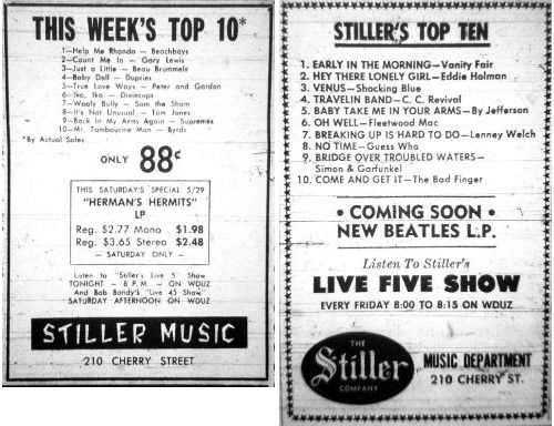 The first and last Stiller Top Ten singles charts from the Stiller Co. in Green Bay, Wisconsin.