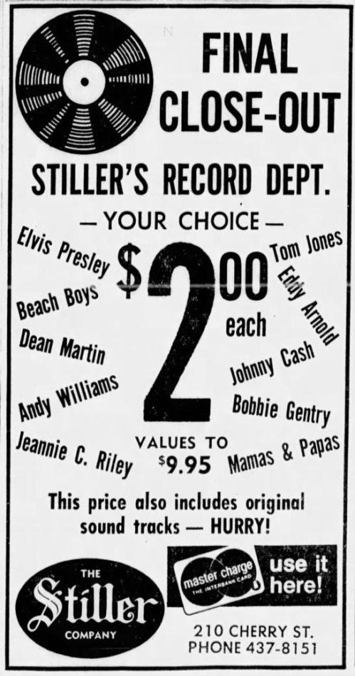 Stiller Music record ad, Oct. 11, 1970