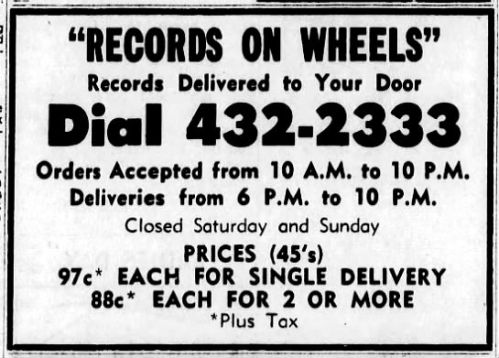 Records on Wheels ad, June 17, 1965