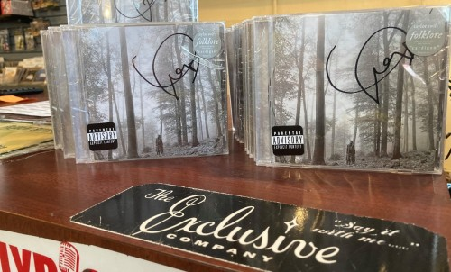 Autographed Taylor Swift folklore CDs at the Exclusive Company in Green Bay, Wisconsin.