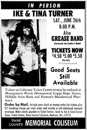 Newspaper ad for Ike and Tina Turner concert in Madison, Wisconsin, on June 26, 1971