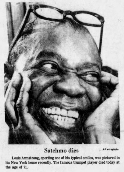 Louis Armstrong file photo, Associated Press
