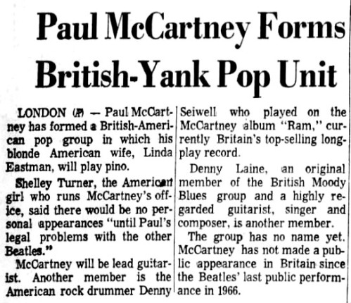 Newspaper clipping about Paul McCartney's new, unnamed band, Aug. 4, 1971