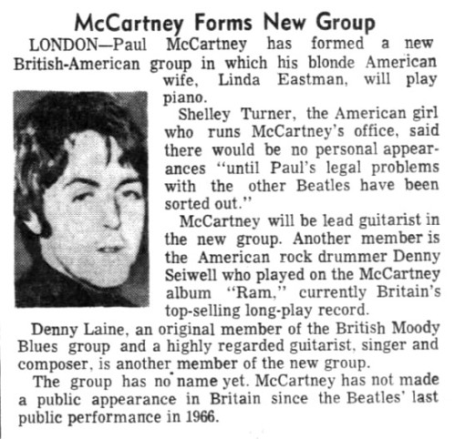 Newspaper clipping on Paul McCartney's new, unnamed band, Aug. 4, 1971