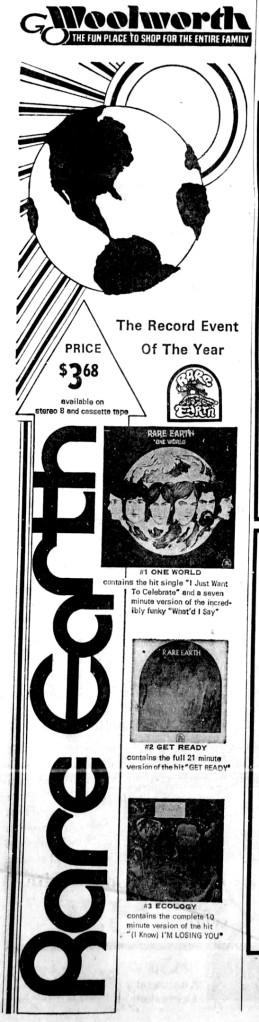 Rare Earth record ad, Green Bay Press-Gazette, Sept. 1, 1971